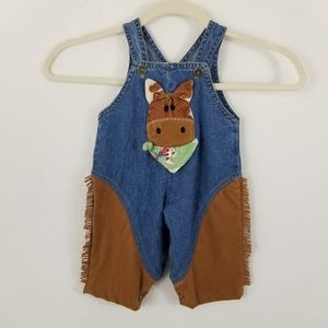 CACHCACH COWBOY FRINGE OVERALLS W/ 3D HORSE 3-9MTH